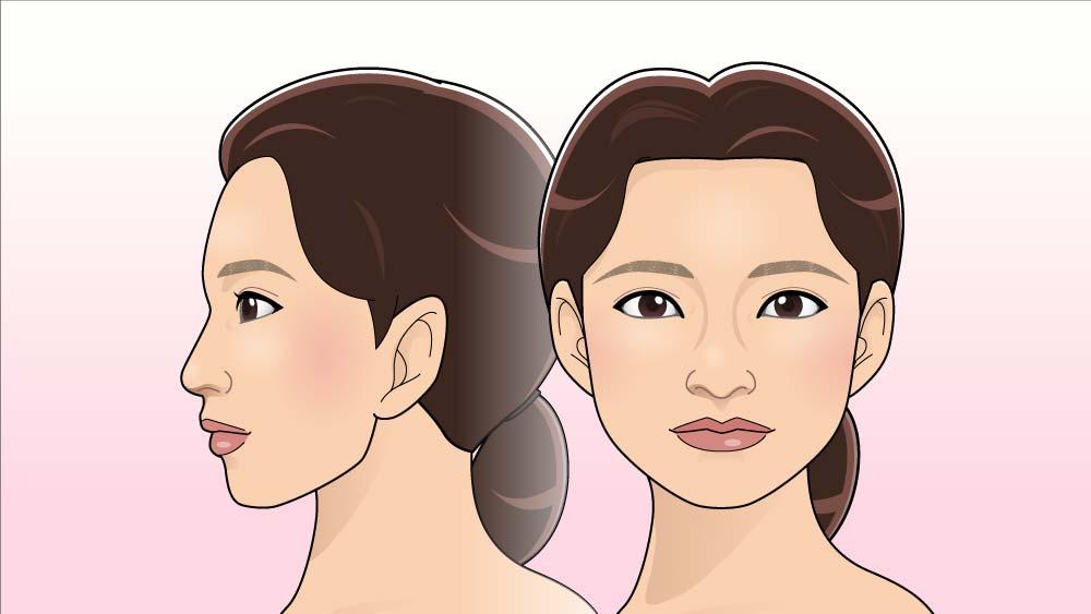 正面顔、真横顔のイラスト