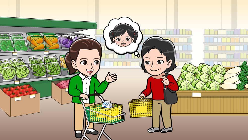 スーパーで買物