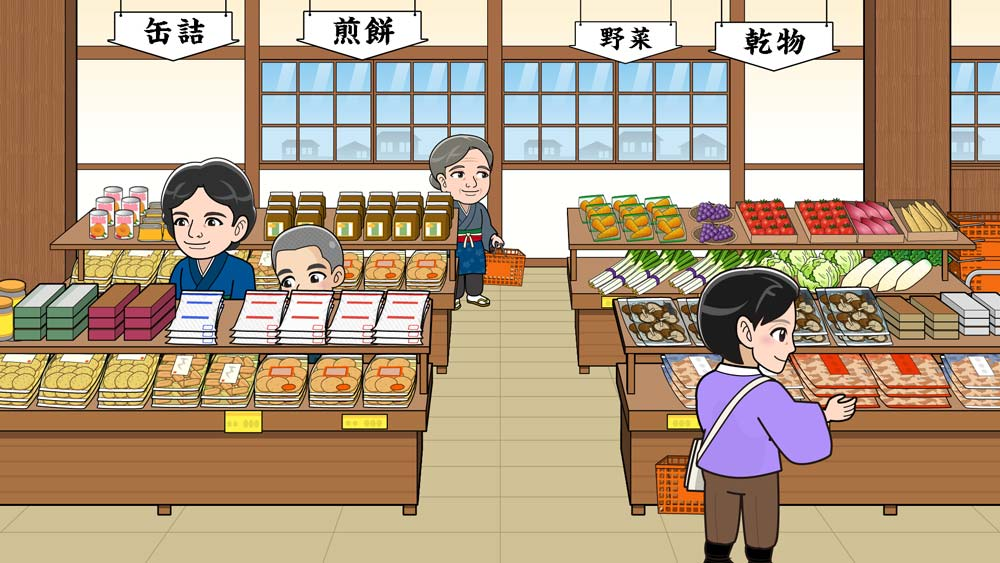 昭和のスーパーのイラスト