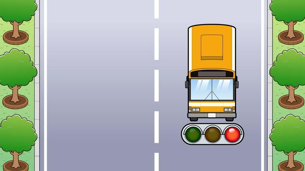 バスと信号のイラスト