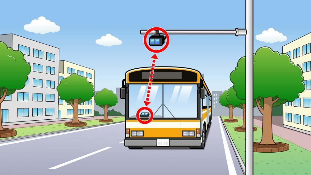 センサーとバスのイラスト