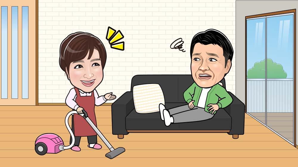 掃除中の川田裕美さんと加藤浩次さんの似顔絵