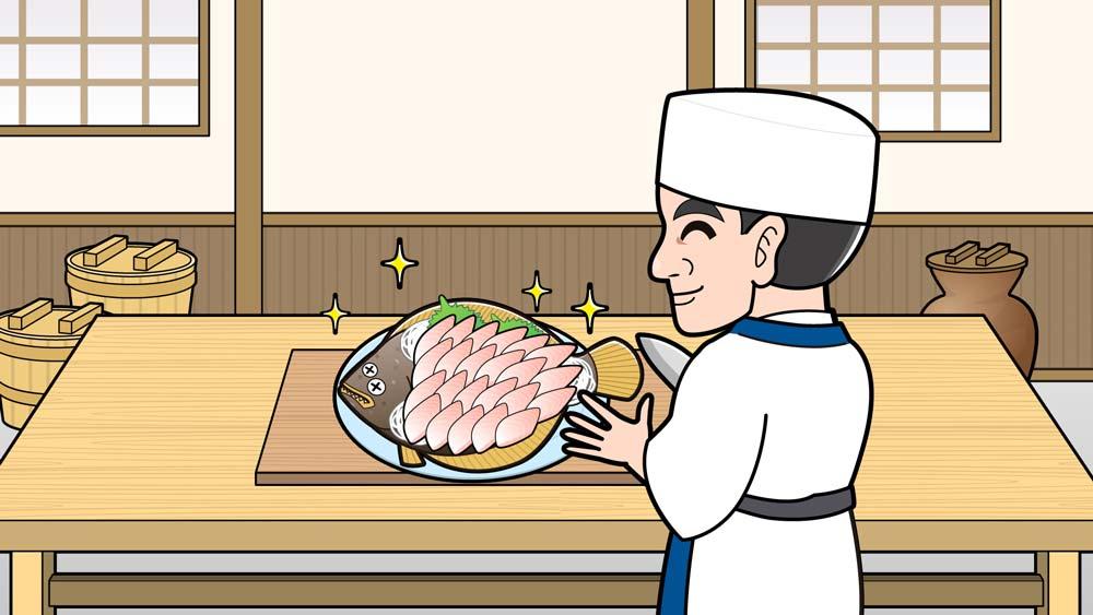 カレイのお造りをつくる料理人