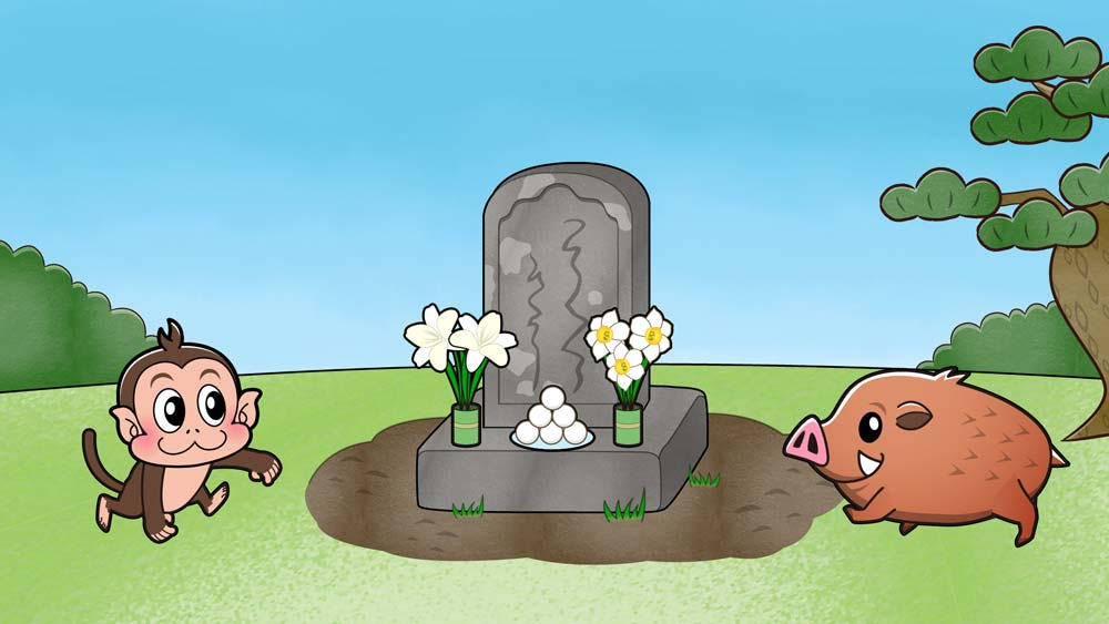 お墓に近づく動物
