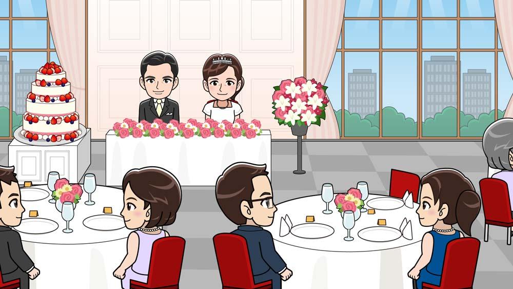 結婚式披露宴会場のイラスト