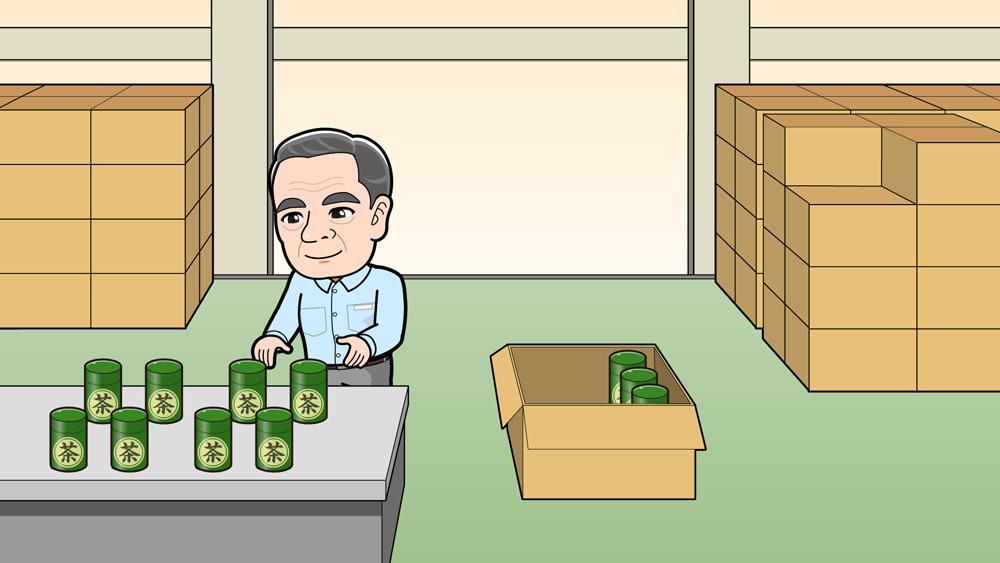 日本のお茶倉庫の様子