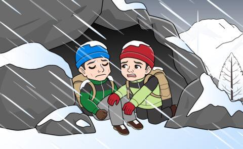 吹雪の山で寝そうになるイラスト