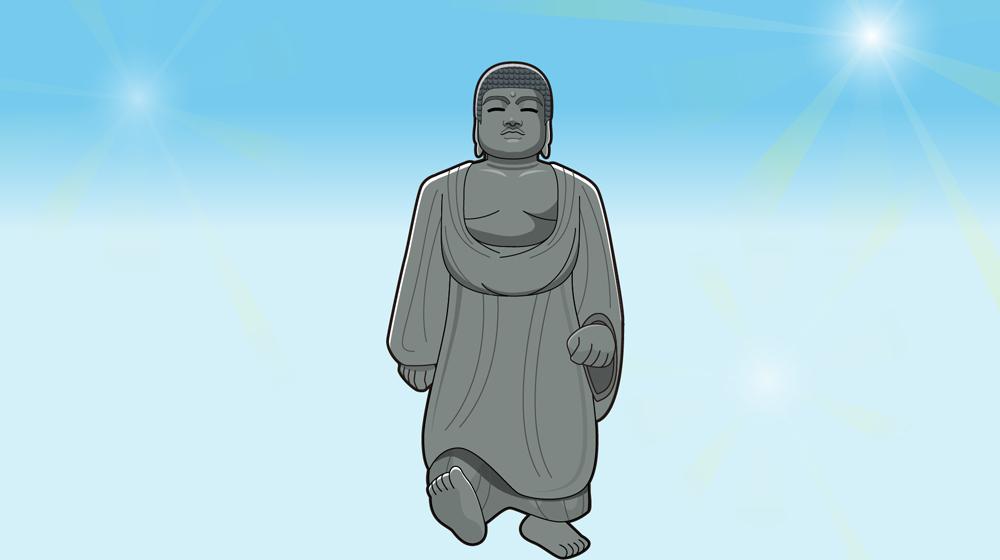 大仏が歩いているアニメ素材