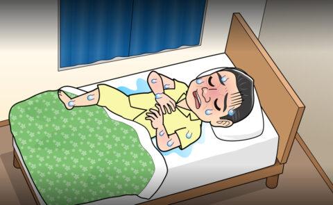 汗をかきながら寝ている人