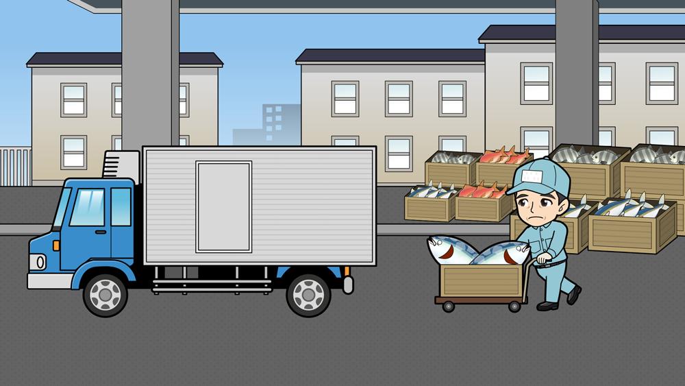 市場で魚をトラックに積むイラスト