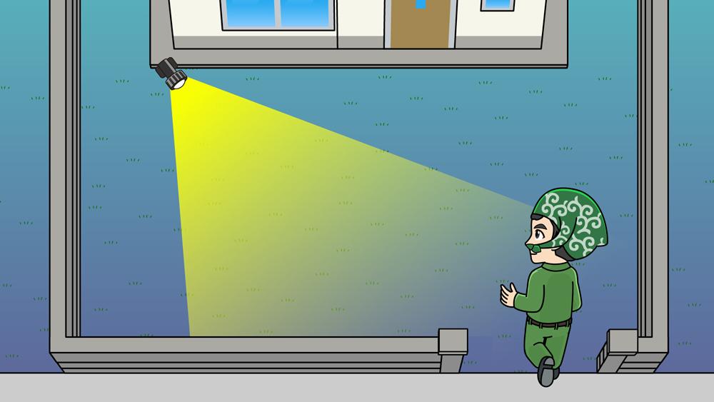 防犯ライト取り付け位置のイラスト