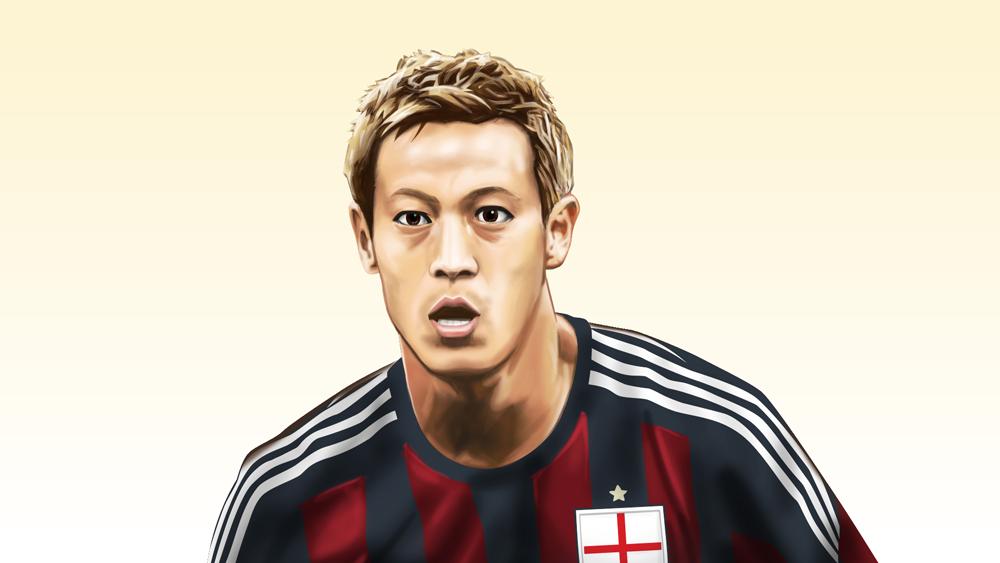本田圭佑選手の似顔絵