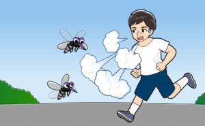 ジョギングする人と蚊