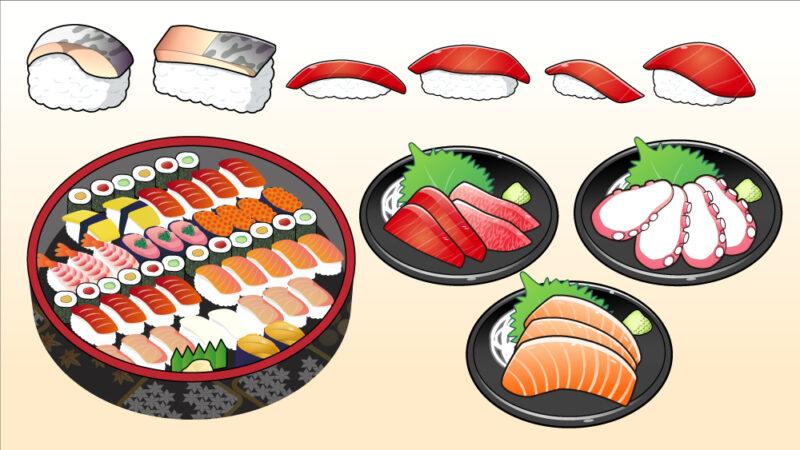 寿司桶とお刺身
