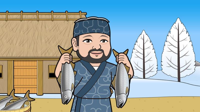 アイヌ民族が鮭を持つイラスト