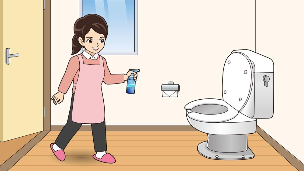 トイレに消臭剤をかける