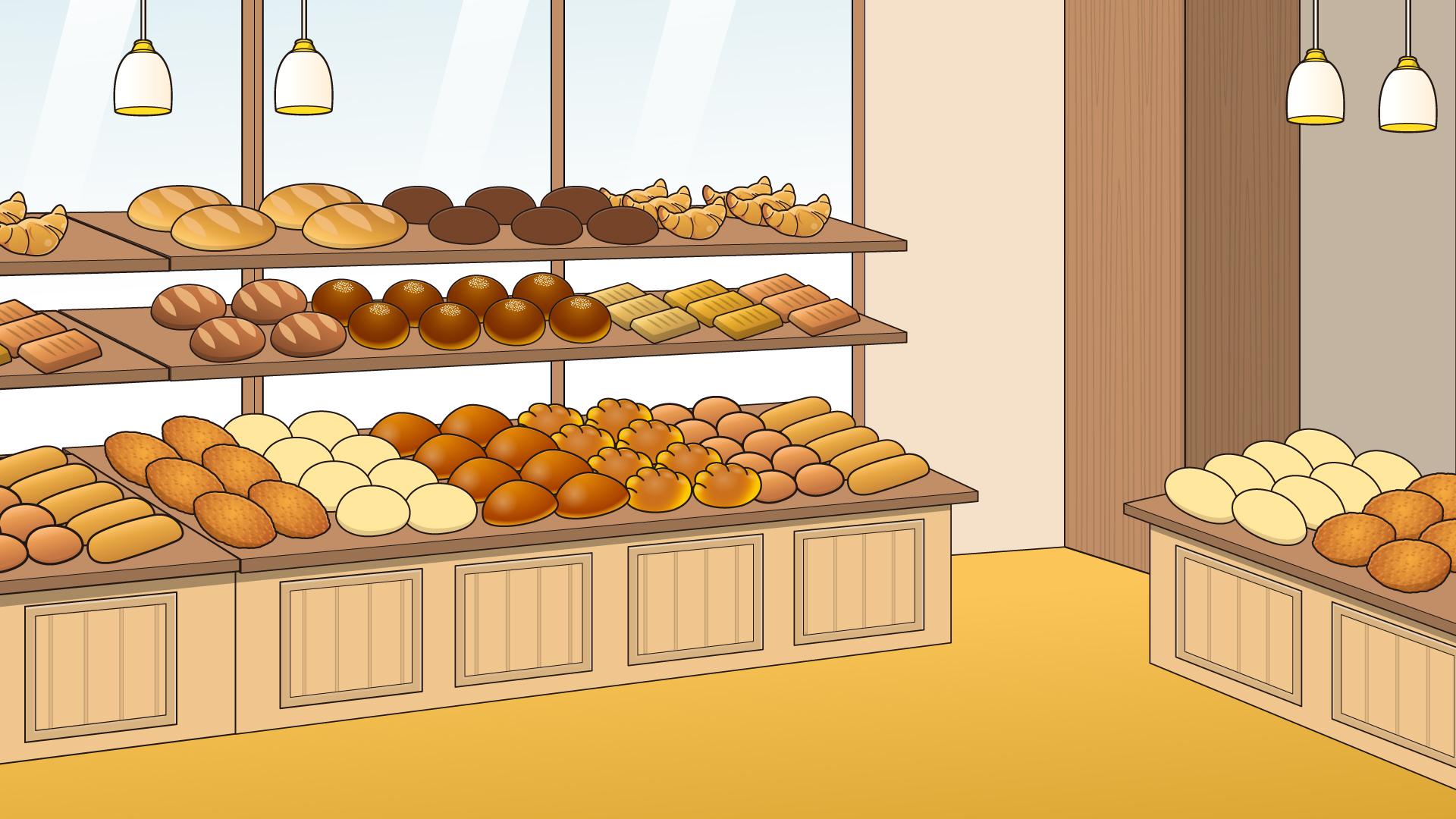 たくさんのパンが並んだパン屋さん