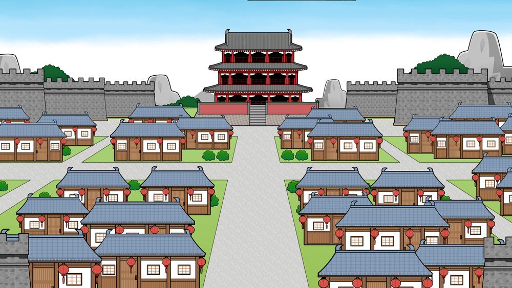 中国唐の時代の町並み