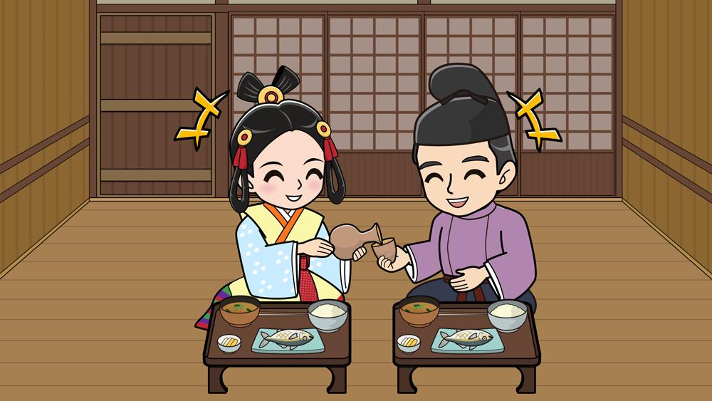 奈良時代に夫婦で食事する様子