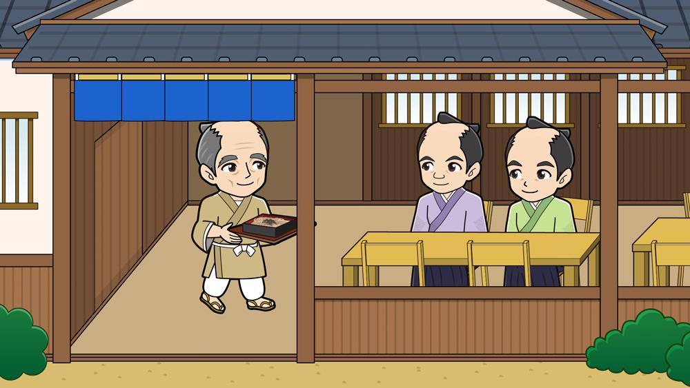 蕎麦屋で食事をする武士
