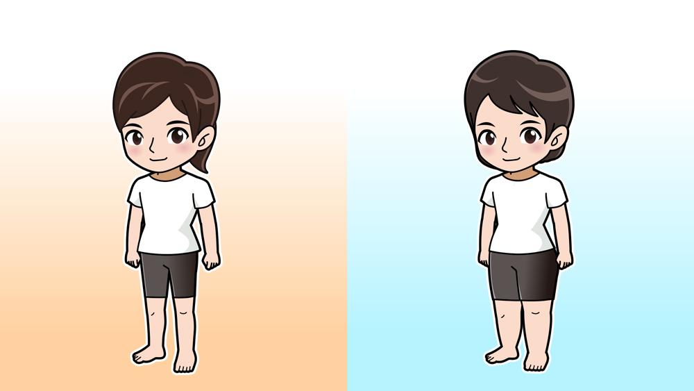足の太い人と普通の人