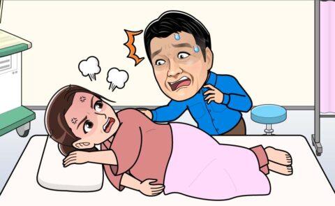 陣痛で苦しむ妻、焦る夫