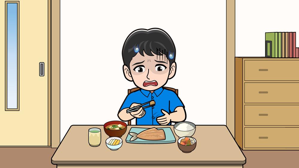 お腹が痛くてご飯を食べられない男性
